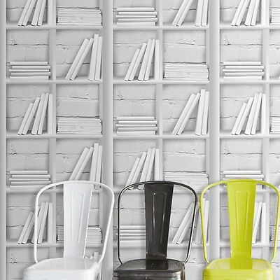 SALE £14.99 Loft Bookcase White Grey Bookcase & Brick Effect Wallpaper