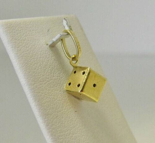 14K YELLOW GOLD 3D TINY DICE CHARM PENDANT .9gr