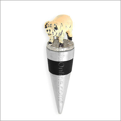 Hand painted pewter Pig Wine Bottle Stopper