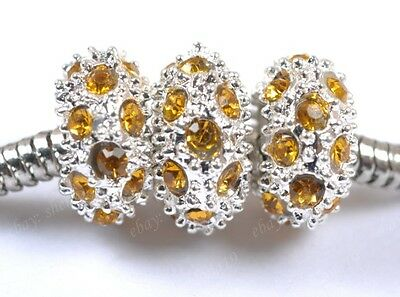 Wholesale Crystal Silver Spacer European Big Hole Charms Loose Beads Findings