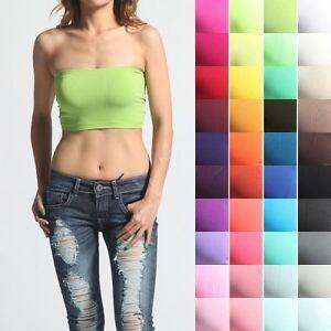 MOGAN-Basic-Stretch-Strapless-Layering-TUBE-BRA-TOP-Plain-BANDEAU-Underwear-Tee