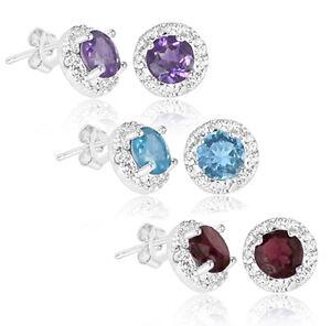 2-Carat-Blue-Topaz-Purple-Amethyst-or-Red-Garnet-Earrings