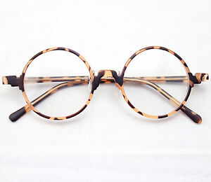 Vintage-Retro-Round-Amber-Leopard-Tortoise-Shell-Eyeglass-Frames-Spectacles-RX