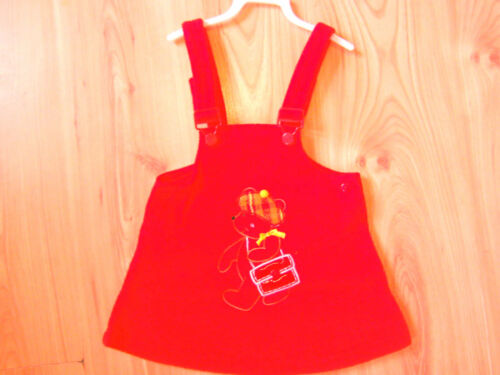 Enfants Jeu polaire robe rouge globale pinafore 1.5-2-3-4-5-6 année kids fille PARTY