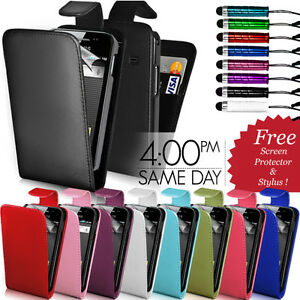 LEATHER-FLIP-CASE-COVER-SCREEN-PROTECTOR-STYLUS-FOR-SAMSUNG-GALAXY-ACE-S5830