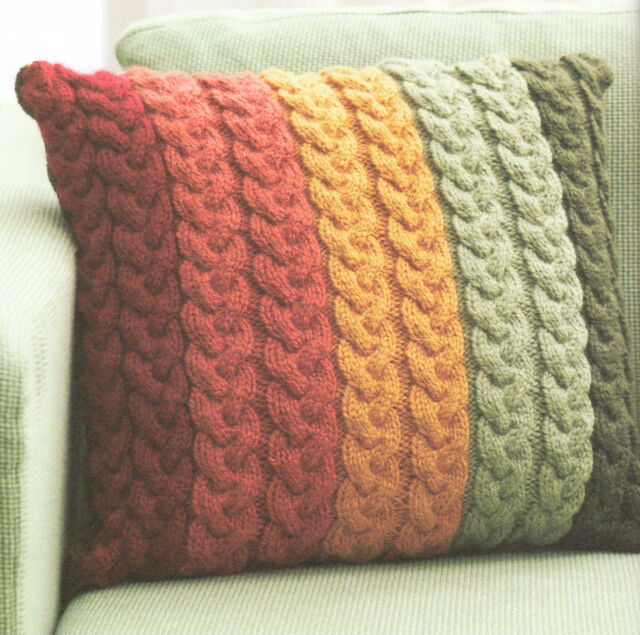 """Chunky Wool Cable Cushion Knitting Pattern 16"""" ~  Knit in Strips ! Great Pattern"""
