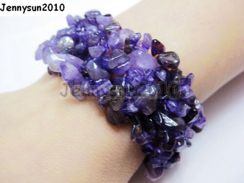 30mm Wide Natural Gemstone Chip Nugget Beaded Fashion Stretchy Bracelet Healing