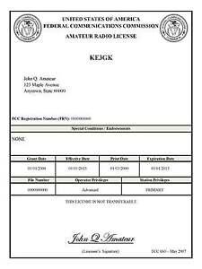 Fcc Amateur License 95
