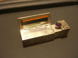 Antique Vintage Sterling Silver Lipstick Holder Mirror