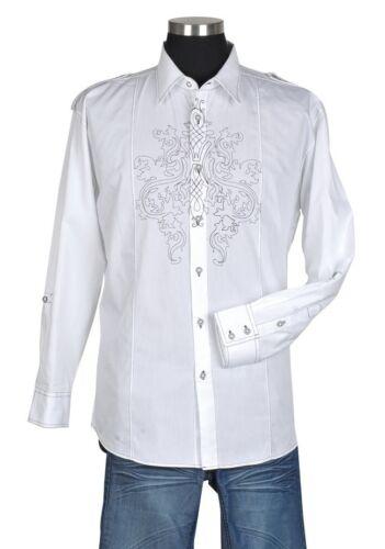 Men's Stylish Spring Breeze Casual Dress Shirt White  M-4XL Sizes 303