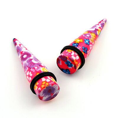 Pair Spring flower design Acrylic Ear Stretcher Expander Tapers PLUGS Gauges