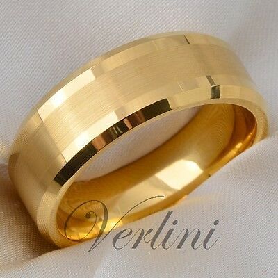 Tungsten Men's Ring 14K Gold Infinity Wedding Band Bridal Jewelry Size 6-13