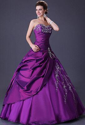 2013 Purple New Maxi Satin Bridal Wedding Dress Marriage Gown Sz 6 8 10 12 14 16