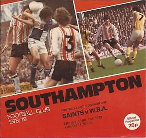 Southampton v WBA  Div 1 1979  Football Programme - <span itemprop=availableAtOrFrom>Sprotbrough, South Yorkshire, United Kingdom</span> - Southampton v WBA  Div 1 1979  Football Programme - Sprotbrough, South Yorkshire, United Kingdom