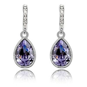18K-White-Gold-Plated-Made-With-Swarovski-Crystal-Purple-Teardrop-Earrings
