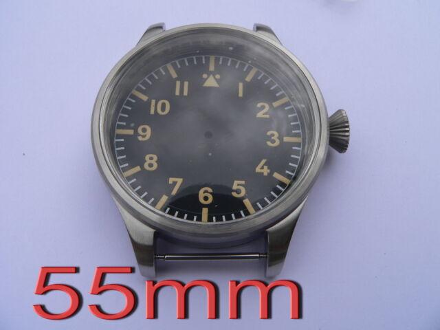 KIT Boitier 55mm Flieger ETA 2824 2836 Pilote Watch Case B-Uhr Uhren Gehäuse