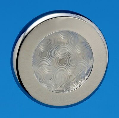 "LED Boat/Caravan Light - 3"" Recessed - chrome - warm white LEDs 12V"