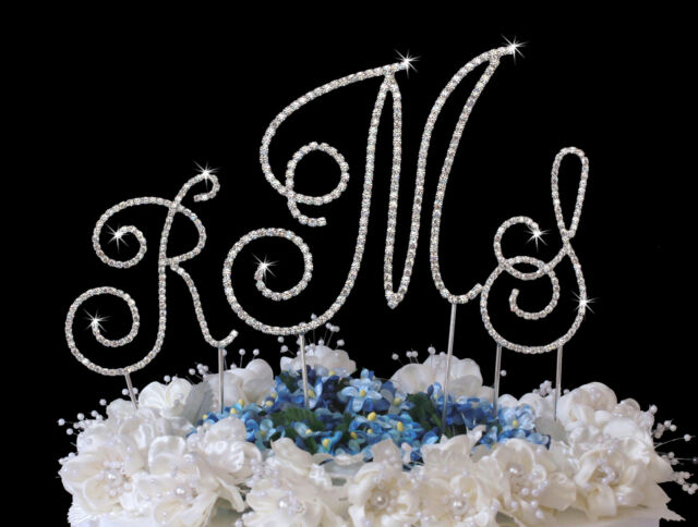 Silver Crystal Renaissance Monogram Wedding Cake Top Letters