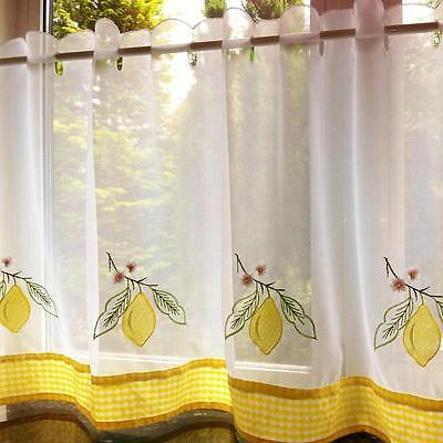 "STUNNING LEMONS WHITE FLORAL  RESTAURANT KITCHEN CAFE CURTAIN PANEL 60"" X 24"""