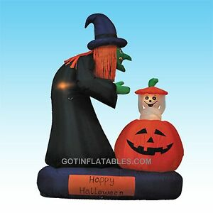 Animated-Halloween-Inflatable-Witch-Pumpkin-Ghost-Yard-Air-Blown-Decoration-Prop