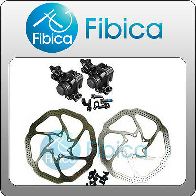 New 2012 Shimano BR-M375 Mechanical Disc Brake Calipers set with Avid HS1 rotors