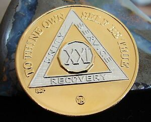 Gold Silver Bi Plated Alcoholics Anonymous AA 21 Year Medallion Chip Token Coin