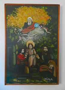 1960s modern christmas jesus nativity scene painting ebay