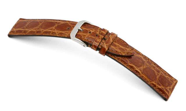 "RIOS1931 (Germany) Genuine Crocodile Leather Watch Band Honey 18 mm ""Lord"""