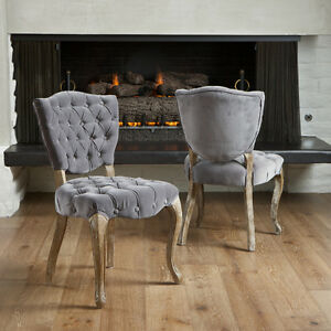 Set Of 2 French Design Weathered Oak Dining Chair