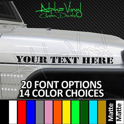 Custom Hood Decals 14 color options 20 fonts Fit Jeep Wrangler TJ JK XJ CJ YJ JL