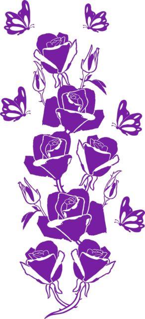Rose Rosen Blumen Aufkleber Wandtattoo Sticker Heckscheibe Auto Spiegel