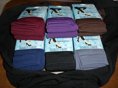 new plus QUEEN size fleece lined footless tights 1x 2x 3x 4x choice of colors