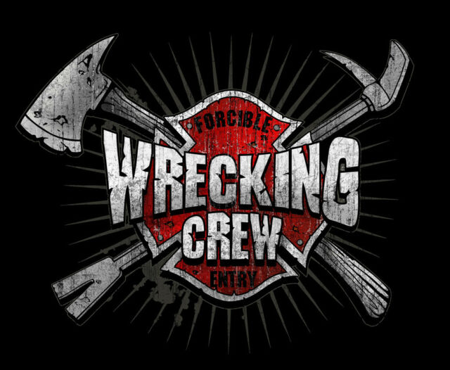 FIREFIGHTER WRECKING CREW T SHIRT FIRE DEPT. Black Tee Shirt  Firefighter Truck