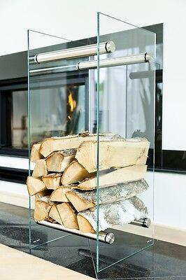 Log basket, log holder, log rack - modern glass design VETROSTYLE