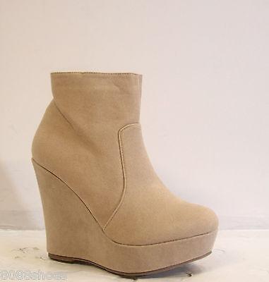 Cute Round Toe Platform Wedge Zipper Bootie Shoes Tan Beige Blue Size 5 - 10 NEW