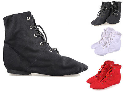 Modern CANVAS Jazz Ballet Dance Shoes Boots Split Heels Sole Men Women