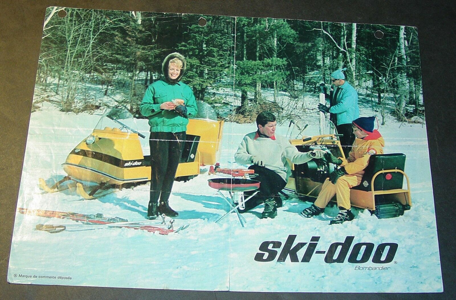 RARE VINTAGE 1966 SKI-DOO SNOWMOBILE SALES  BROCHURE SINGLE PAGE FRENCH  online shopping sports
