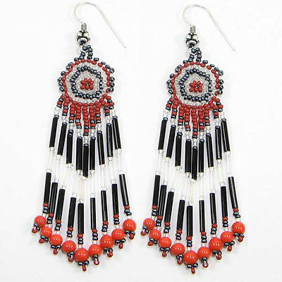 RED WHITE BLACK HANDCRAFTED BEADED NATIVE STYLE FASHION HOOK EARRINGS E15/6