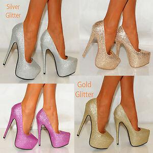 SILVER-GOLD-PLATFORM-GLITTER-SHIMMER-SPARKLY-HIGH-COURT-SHOES-SIZES-HEELS-3-8