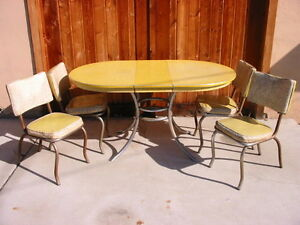 vintage 1940s 50s chrome yellow kitchen table cracked ice dining 4