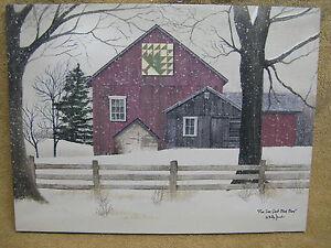 Christmas Pine Tree Quilt Canvas Barn Farm House Snow