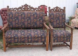 Quartersawn-Oak-Carved-Loveseat-Armchair-Parlor-Set