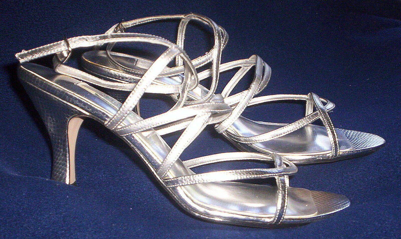 FrotERICO LEONE LADIES Silber Silber Silber BRIDAL FORMAL STRAPPY SANDALS schuhe s9½ NEW IN BOX de9a37