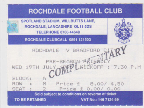 Football Ticket>ROCHDALE v BRADFORD CITY July 1995 Pre-Season Friendly