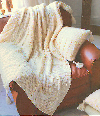 Chunky Wool Aran Style  Sampler Throw & Cushion -6 Different Squares ~  To Knit