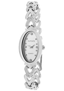 Dufonte-Watch-73037SL-Women-039-s-White-Austrian-Crystal-Silver-Dial-Rhodium-Plated