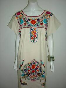 Manta-Vintage-Hippie-Boho-Tunic-Embroidered-Mexican-Dress-S-M-L-XL-XXL-XXXL