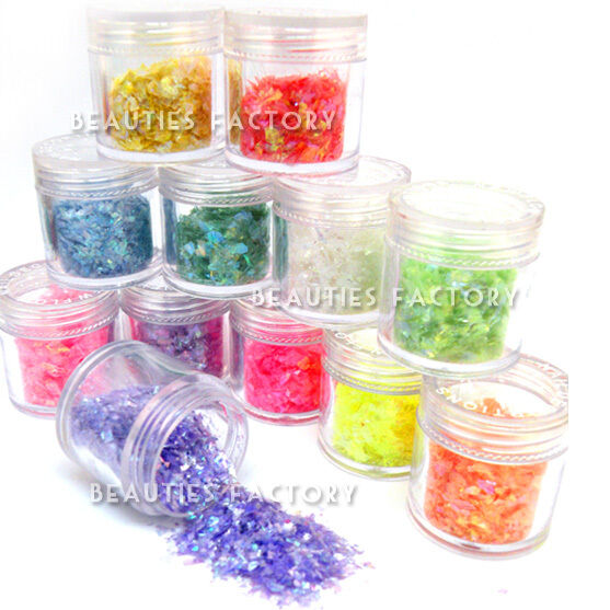 12 Color x Icy Mylar Glitter Sheets 10g Each Jar Nail Art Decoration UV Gel 418
