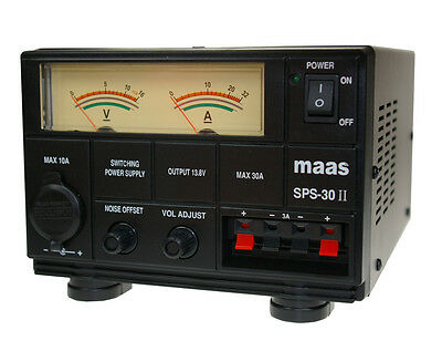 MAAS SPS-30-II Power Supply 9-15 Volt. 35 Amp CB Ham Radio + 3pin cable