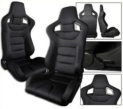 1 PAIR BLACK CLOTH RACING SEATS RECLINABLE ALL CHEVROLET **